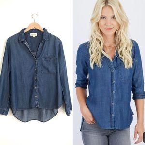 CLOTH & STONE Chambray Top Button Down Medium Wash